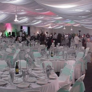Pale Blue and Accent Lighting banquet